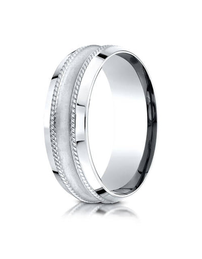 14k White Gold 7.5mm Comfort Fit Center Cut Glass Finish Beveled Rope Design Band - CF67580214kw