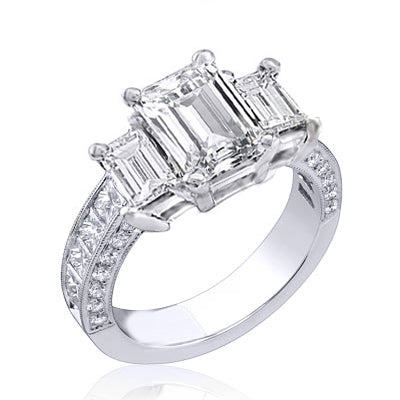 Emerald Cut 3 Stone Diamond Ring w Princess Shank