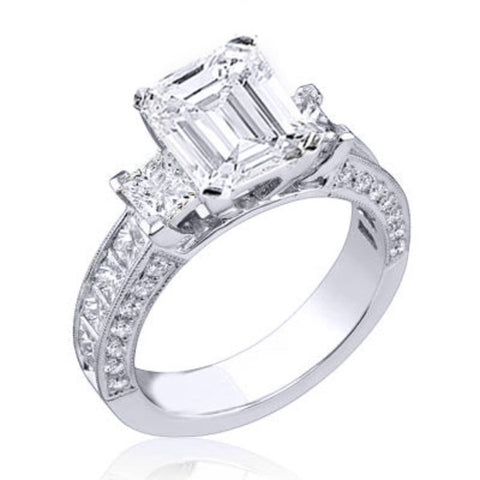 2.70 Ct. Emerald Cut Diamond Ring w Channel Set Princess Cut F Color VS1 GIA Certified