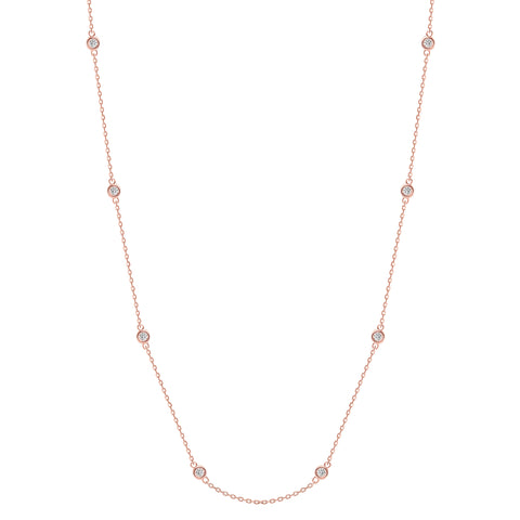 LEDODI Bezel Diamond Train Necklace