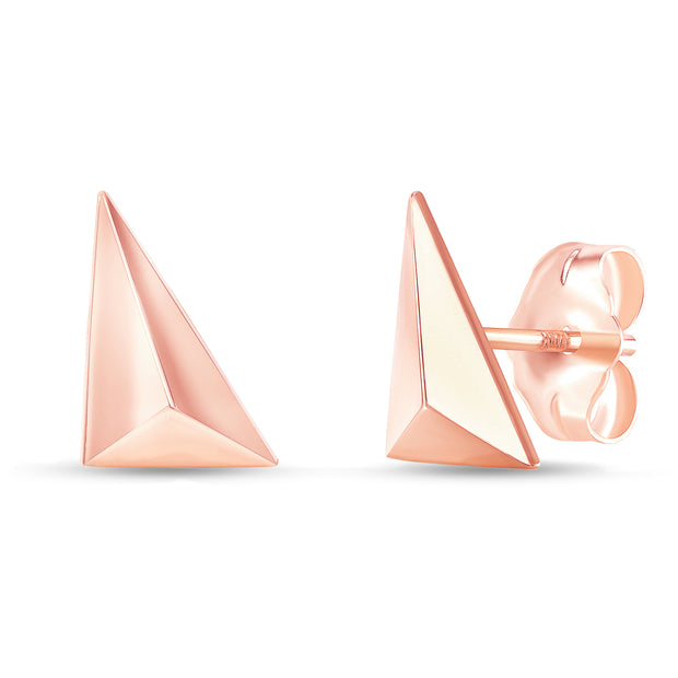 rose gold geometric stud earrings