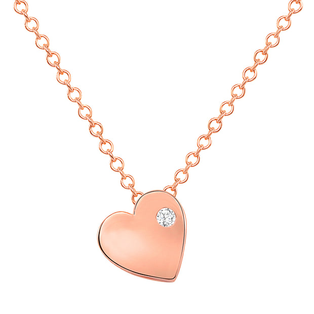 rose gold dainty heart necklace with tiny diamond