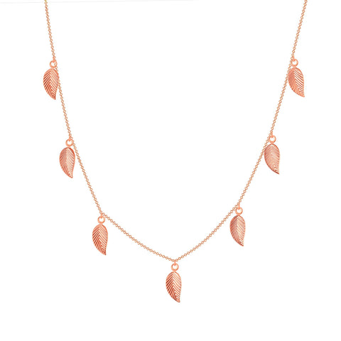 14k rose gold leaf chain necklace