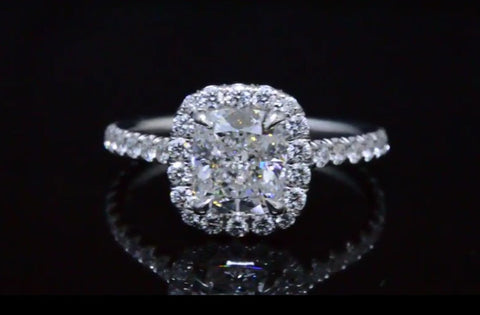 2.20 Ct. Clasico Halo Cushion Cut Diamond Engagement Ring F Color VS1 GIA Certified