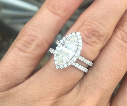 2.60 Ct. Halo Marquise Cut Diamond Ring w Matching Band G VS1 GIA Certified
