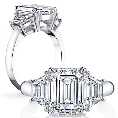 2.10 Ct. 3 Stone Emerald Cut w Trapezoids Diamond Ring H Color VS2 GIA Certified