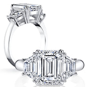 2.50 Ct. 3 Stone Emerald Cut Diamond Ring w Trapezoids F Color VS1 GIA Certified