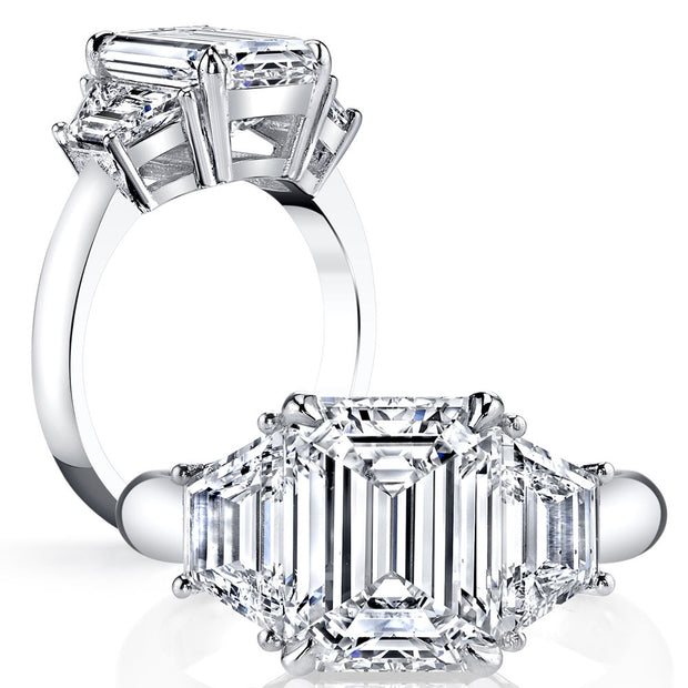 2.50 Ct. Emerald Cut & Trapezoid Three Stone Diamond Ring F Color VS1 GIA Certified