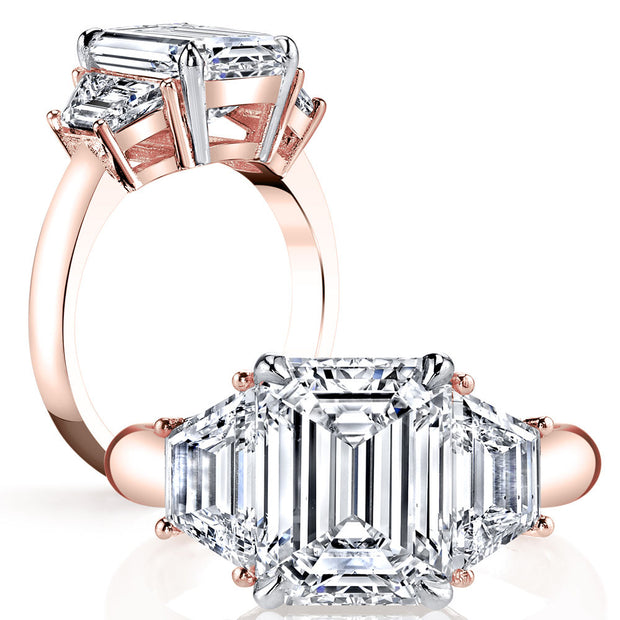 1.50 Ct. 3 Stone Emerald Cut w Trapezoids Diamond Engagement Ring H Color VS1 GIA Certified
