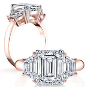 2.30 Ct. Emerald Cut & Trapezoid Three Stone Diamond Ring F Color VS1 GIA Certified