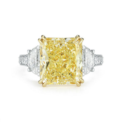 5.10 Ct. Canary Fancy Yellow Rectangle Radiant Cut Diamond Engagement Ring VS1 GIA Certified
