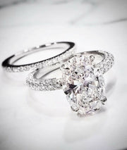 3.20 Ct. Oval Cut Pave Under-Halo Diamond Engagement Ring H Color VS2 GIA Certified