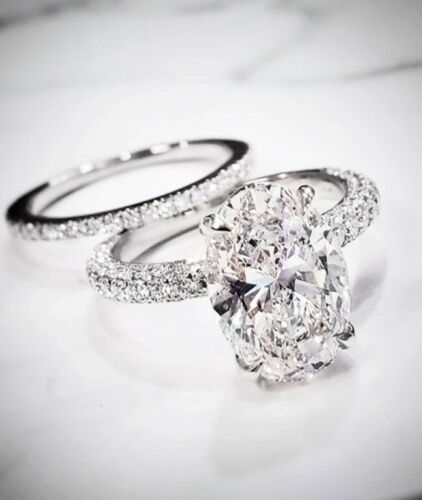 3.75 Ct. Oval Cut Under-Halo Pave Diamond Engagement Ring F Color VS1 GIA Certified