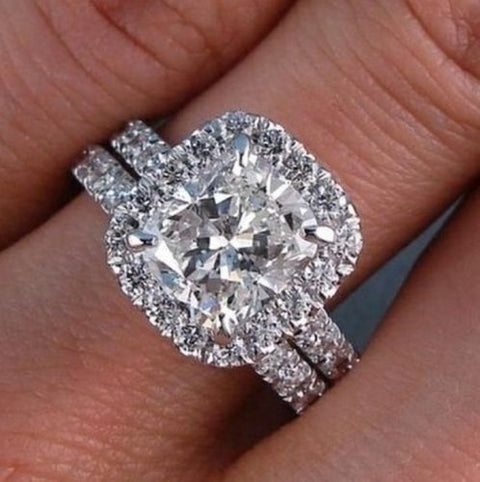 2.70 Ct. Clasico Halo Cushion Cut Diamond Engagement Ring H Color VS2 GIA
