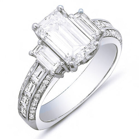 3.80 Ct. Emerald Cut w Baguettes Diamond Engagement Ring J Color VS1 GIA Certified