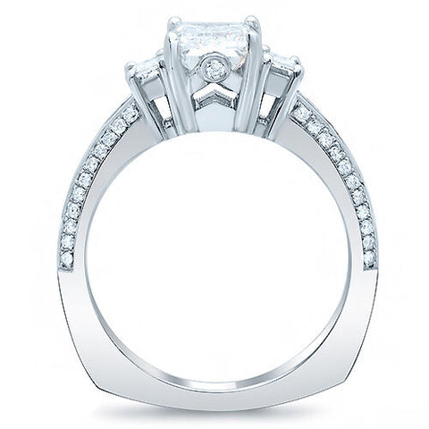 3.30 Ct Emerald Cut w Baguettes Diamond Engagement Ring H Color VVS1 GIA Certified