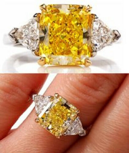 2.60 Ct. Canary Fancy Yellow Radiant Cut 3-Stone Diamond Ring VS2 GIA Certified