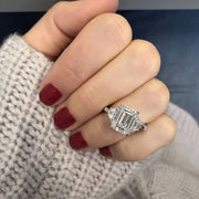 1.50 Ct. Emerald Cut & Trapezoid Three Stone Diamond Ring G Color VVS2 GIA Certified