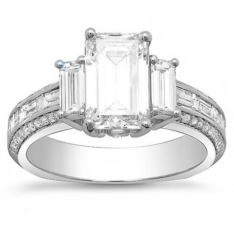 3.30 Ct. Emerald Cut w Baguettes Diamond Engagement Ring G Color VS1 GIA Certified