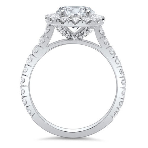 2.95 Ct. Halo Round Cut Forever Diamond Engagement Ring G Color SI1 GIA Certified 3X