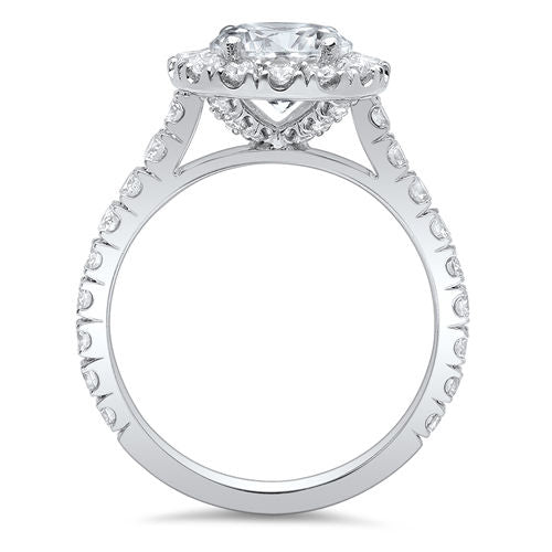 2.75 Ct. Halo Round Cut Forever Diamond Engagement Ring J Color VS2 GIA Certified 3X