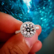 2.45 Ct. Halo Round Cut Forever Diamond Engagement Ring H Color VS2 GIA Certified 3X