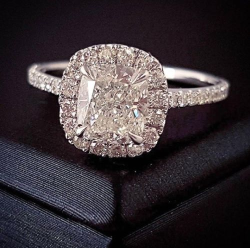 1.90 Ct. Jovani Cushion Cut Halo Diamond Engagement Ring G Color VS1 GIA Certified