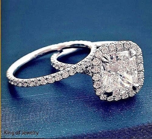 1.90 Ct. Clasico Cushion Cut Halo Diamond Engagement Ring F Color VS1 GIA Certified