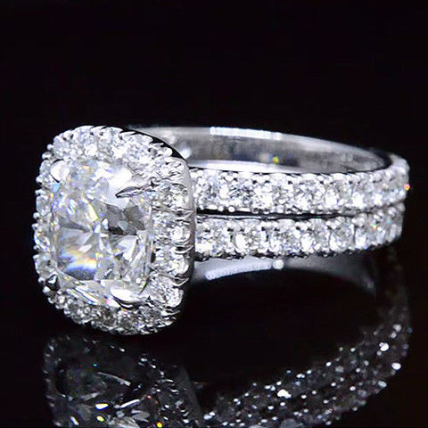 2.20 Ct. Clasico Halo Cushion Cut Diamond Engagement Ring G VS2 GIA Certified