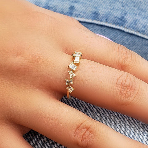 Scattered Baguette Diamond Ring