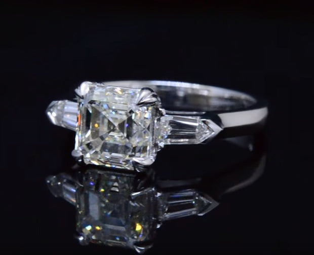 2.60 Ct. 3 Stone Asscher Cut & Bullet Cut Diamond Ring G Color VS1 GIA Certified