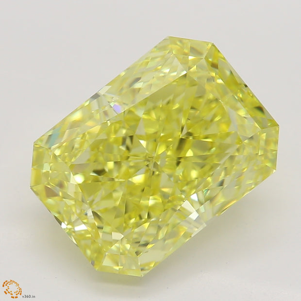 4.00 Ct. Hand-Carved Canary Intense Fancy Yellow Radiant Cut Diamond Ring VS1 GIA Certified