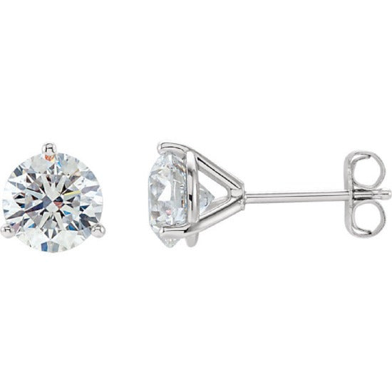 1.40 Ct. Round Cut Martini Diamond Stud Earrings F Color VS1 GIA Certified 3X