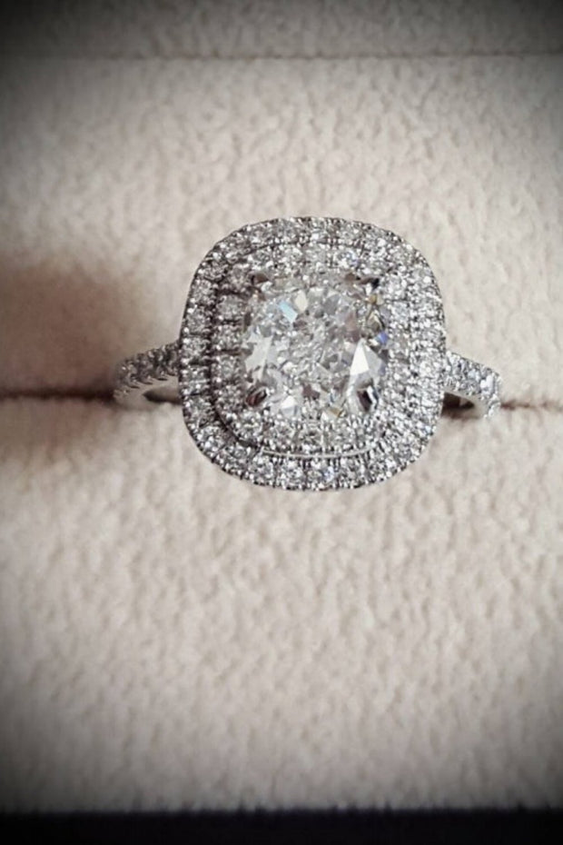 1.95 Ct. Cushion Cut Double Halo Diamond Engagement Ring H Color VS1 GIA Certified