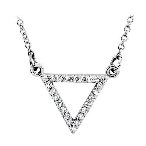 14k white gold triangle diamond necklace
