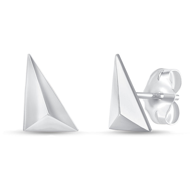 white gold geometric stud earrings
