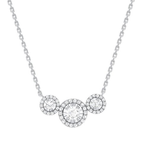 white gold diamond trio necklace