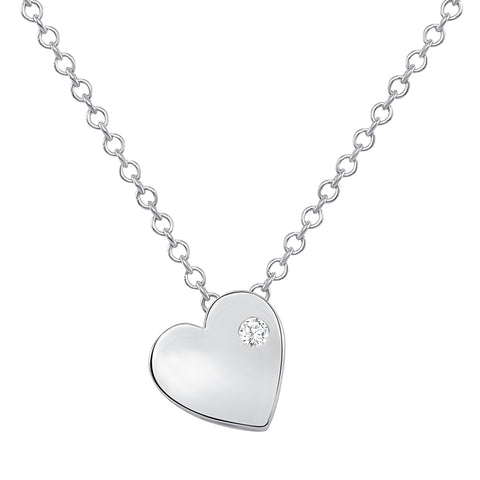 white gold dainty heart necklace with tiny diamond