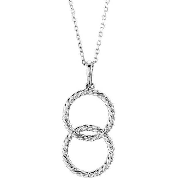 white gold double circle interlock necklace