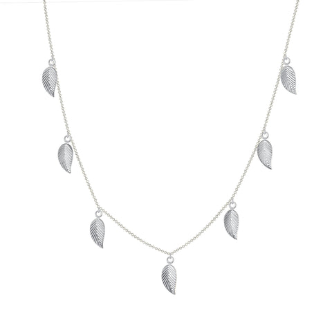 14k white gold leaf chain necklace