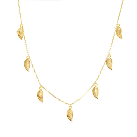 14k yellow gold leaf chain necklace