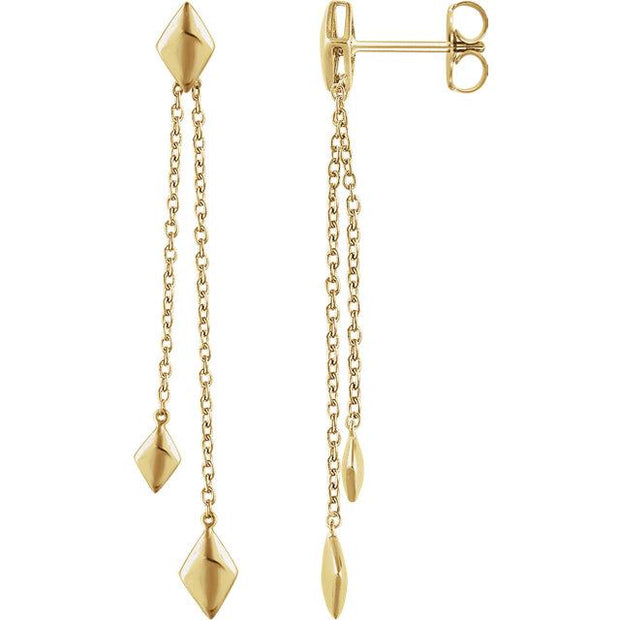 yellow gold chain dangle earrings
