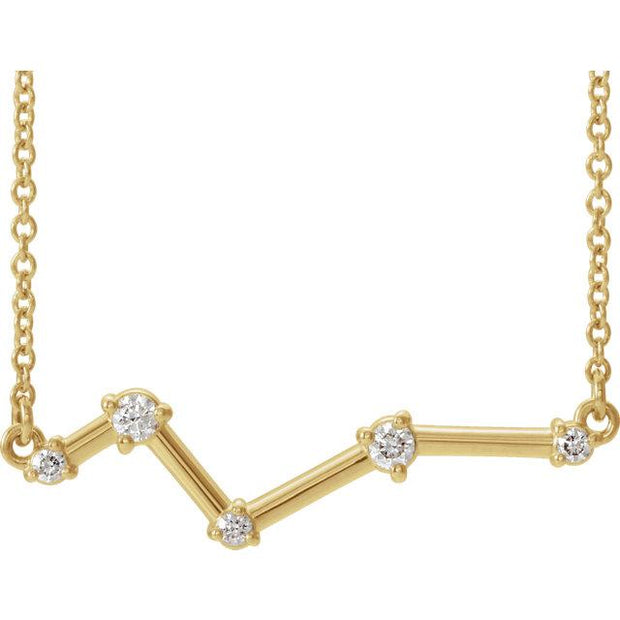 yellow gold constellation bar necklace
