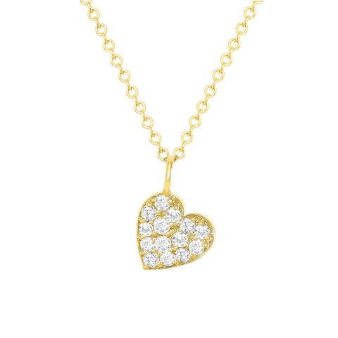 yellow gold diamond heart necklace