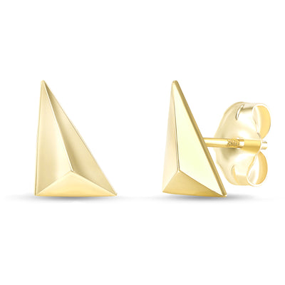 yellow gold geometric stud earrings