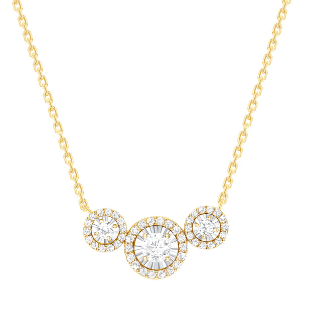 yellow gold diamond trio necklace