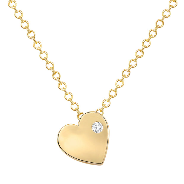 yellow gold dainty heart necklace with tiny diamond