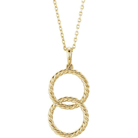 yellow gold double circle interlock pendant