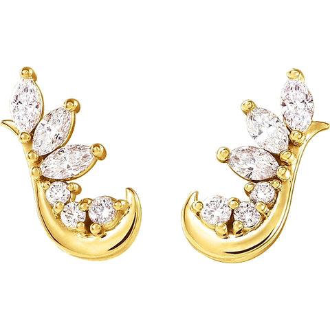 yellow gold cluster diamond stud hook earrings