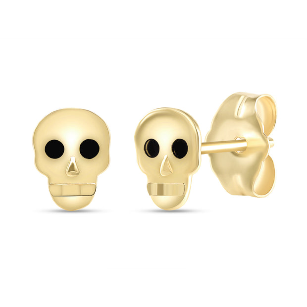 yellow gold skull stud earrings